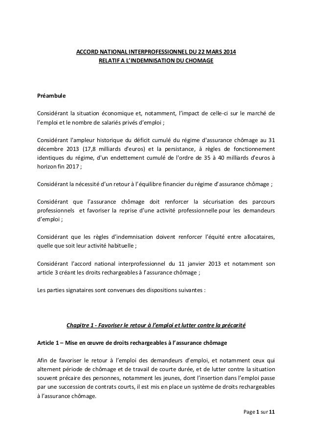 Page 1 sur 11      ACCORD NATIONAL INTERPROFESSIONNEL DU 22 MARS 2014   RELATIF A L'INDEMNISATION DU CHOMAGE        ...