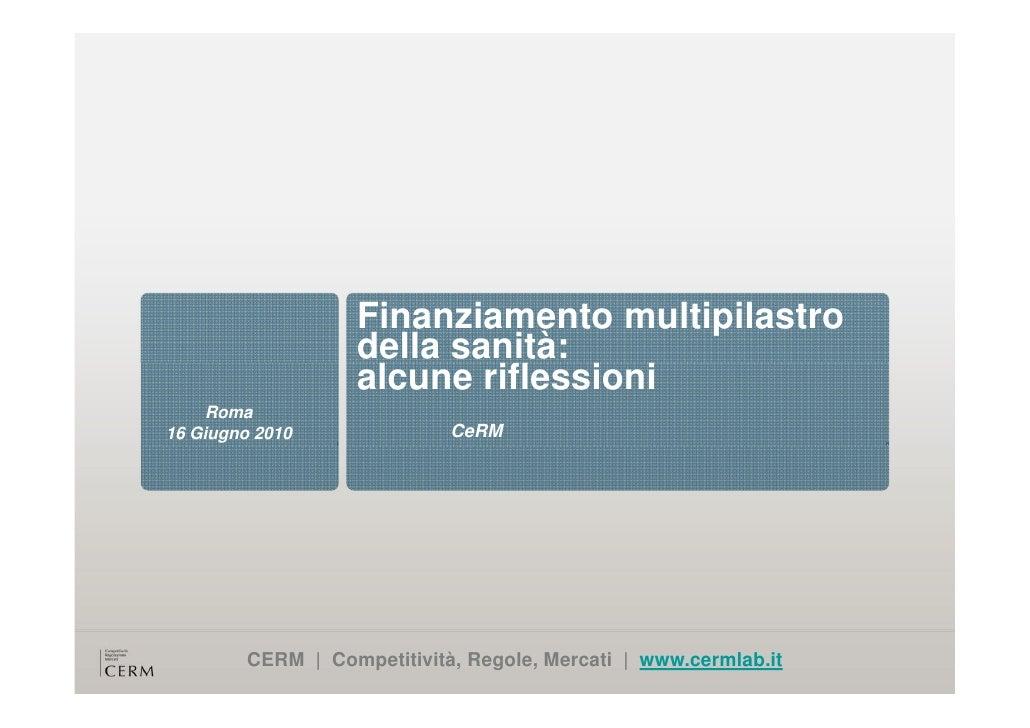 L'integrazione pubblico-privato nel finanziamento della sanità e dell'assistenza alla persona