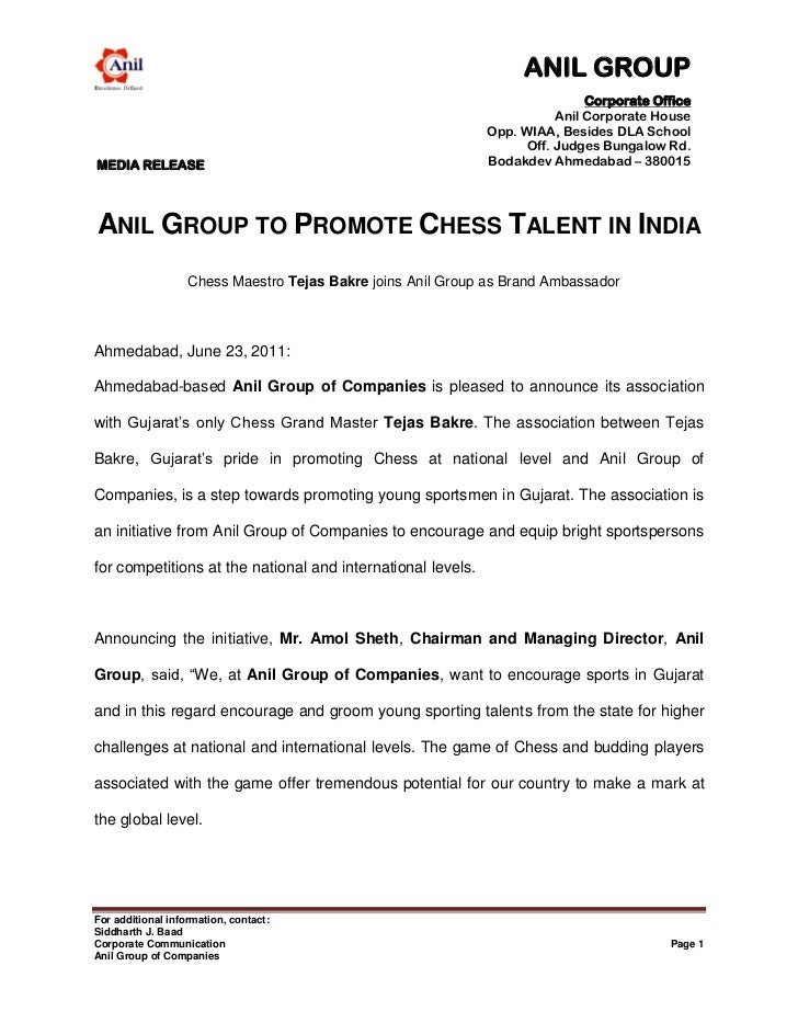 Anil group of companies to promote chess talent in india
