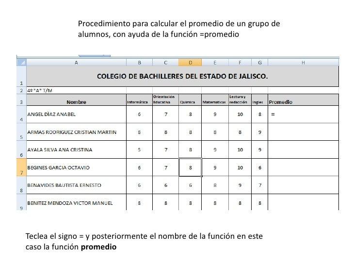 Procedimiento para calcular el promedio de un grupo de alumnos, con ayuda de la función =promedio<br />=<br />Teclea el si...