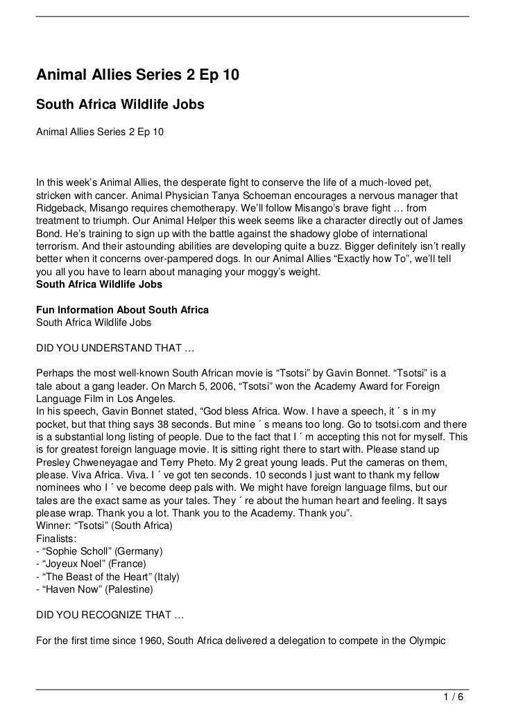 Animal Allies Series 2 Ep 10South Africa Wildlife JobsAnimal Allies Series 2 Ep 10In this week's Animal Allies, the desper...