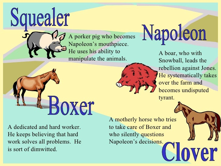 tactics used by napoleon and squealer A list of all the characters in animal farm the animal farm characters covered include: napoleon, snowball, boxer, squealer, old major, clover, moses, mollie.
