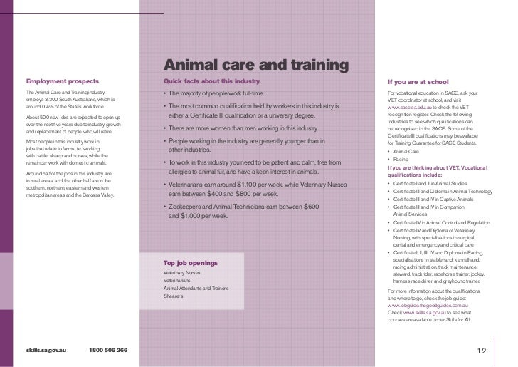 Animal care and trainingEmployment prospects                              Quick facts about this industry                 ...