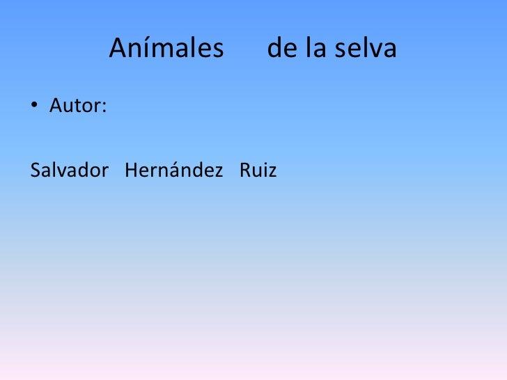 Animales De La Selva Salvador 6io
