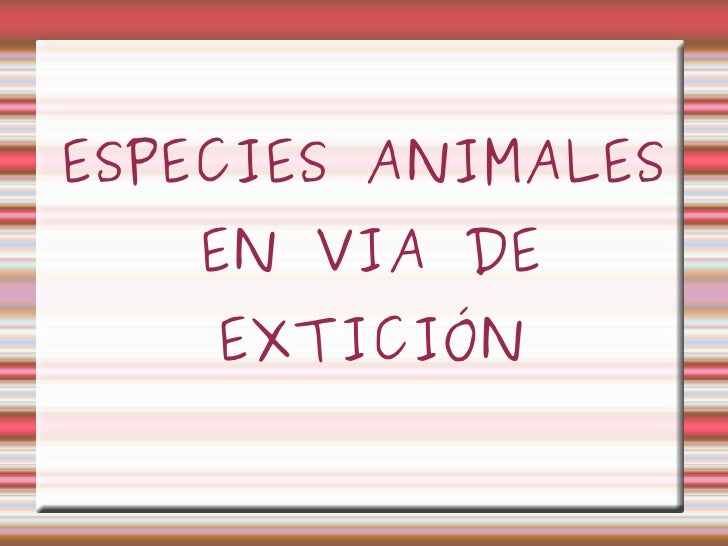 ESPECIES ANIMALES   EN VIA DE    EXTICIÓN