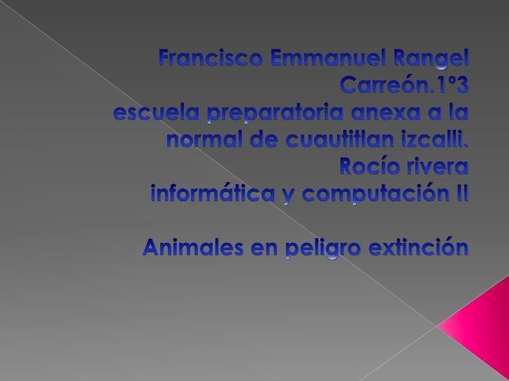  Cuando se considera a una especie  animal en peligro de extincion para defenderse Debemos actuar rápido. Los principa...