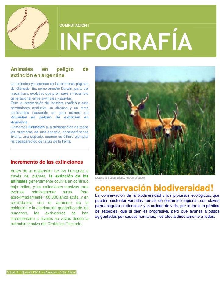 COMPUTACIÓN I                                  INFOGRAFÍA  Animales     en    peligro                     de  extinción en...