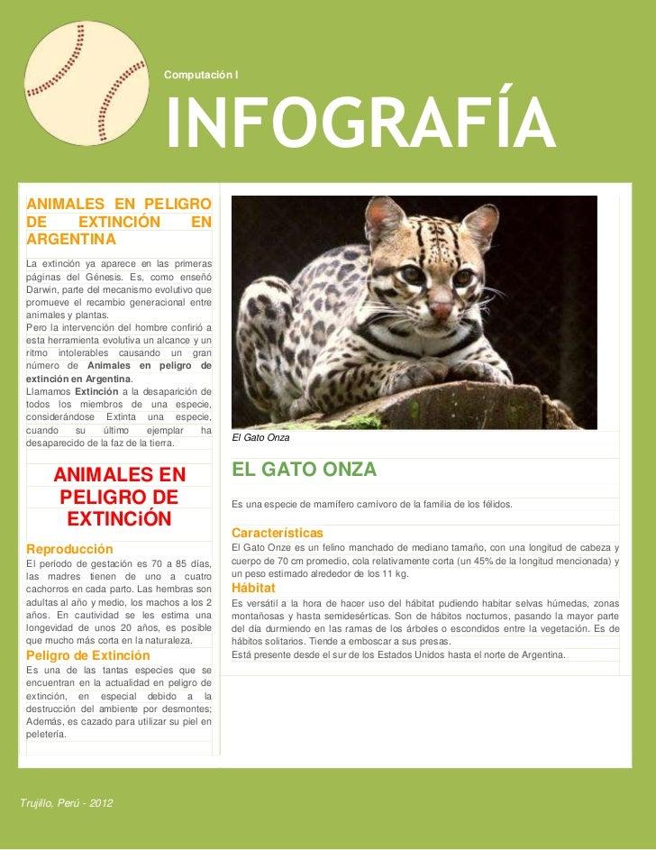 Computación I                                INFOGRAFÍA ANIMALES EN PELIGRO DE   EXTINCIÓN   EN ARGENTINA La extinción ya ...