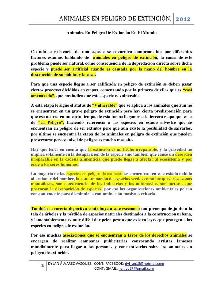 ANIMALES EN PELIGRO DE EXTINCIÓN. 2012                   Animales En Peligro De Extinción En El MundoCuando la existencia ...