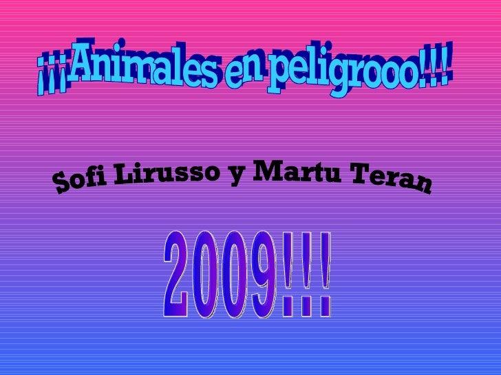 ¡¡¡Animales en peligrooo!!! Sofi Lirusso y Martu Teran 2009!!!