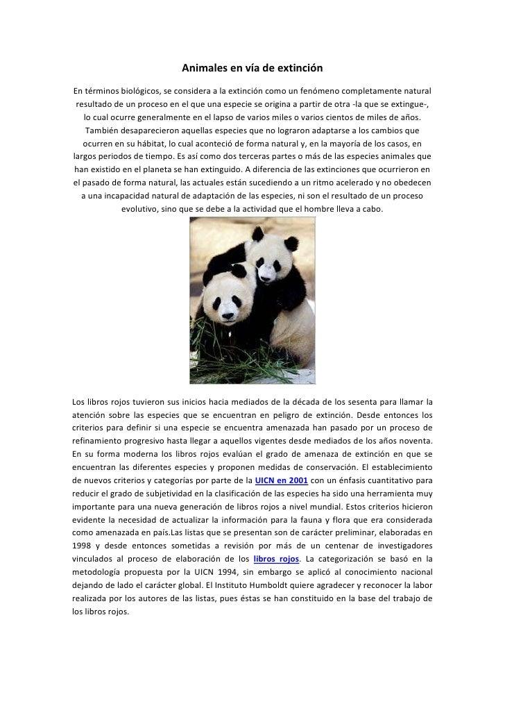 Animales en vía de extinción<br />En términos biológicos, se considera a la extinción como un fenómeno completamente natur...