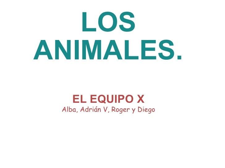 LOS ANIMALES. EL EQUIPO X Alba, Adrián V, Roger y Diego