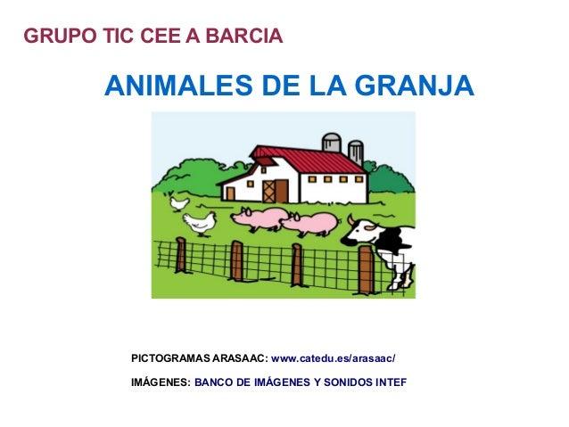 GRUPO TIC CEE A BARCIA  ANIMALES DE LA GRANJA  PICTOGRAMAS ARASAAC: www.catedu.es/arasaac/ IMÁGENES: BANCO DE IMÁGENES Y S...