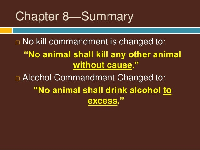 seven commandments of animal farm The seven commandments may be said to be the key to an understanding of animal farm the novel, animal farm, by george orwell expresses the idea of self-government through the animals the animals pl.