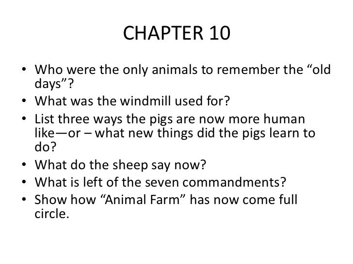 animal farm chapter by chapter review Free british films essay animal farm: chapter by chapter reviewbr br matt shermanbr br - old major calls a meeting in the barn.