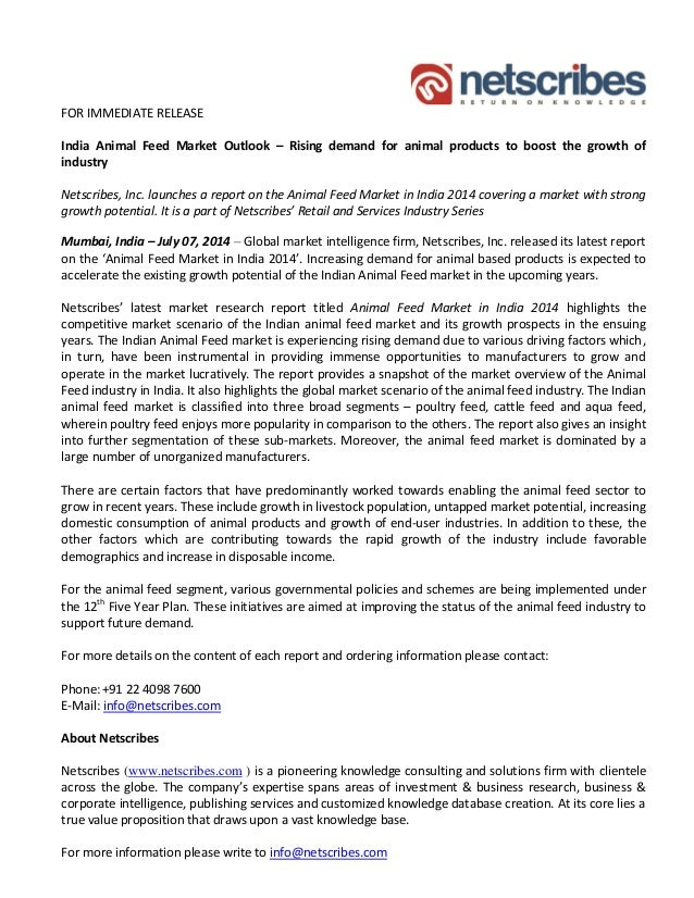 Animal feed market in india 2014   press release