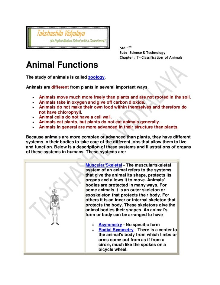 Animal functions