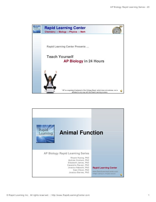AP Biology Rapid Learning Series - 20 © Rapid Learning Inc. All rights reserved. :: http://www.RapidLearningCenter.com 1 R...