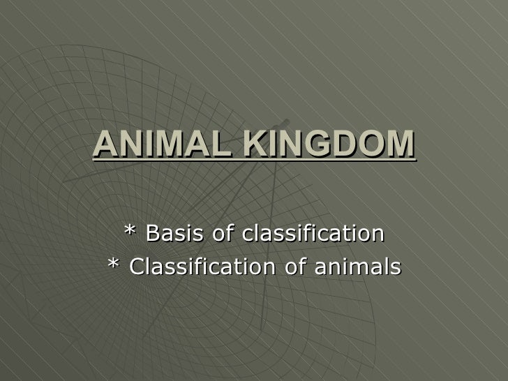 ANIMAL KINGDOM * Basis of classification * Classification of animals