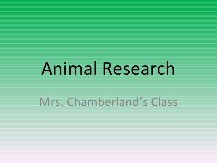 Animal Research - Chamberland