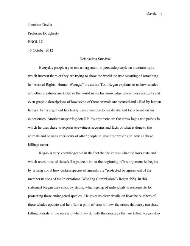 argumentative essay on animal rights Do you want to sound even more persuasive when writing an argumentative essay on animal rights let's check what smart people think about this issue.