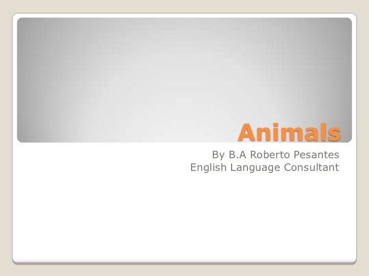 Animals    By B.A Roberto PesantesEnglish Language Consultant