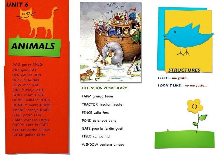 UNIT 6      ANIMALS  DOG perro DOG  CAT gato KAT                                           STRUCTURES  HEN gallina JEN    ...