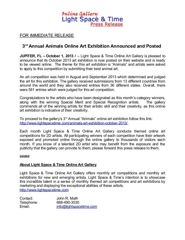 FOR IMMEDIATE RELEASE 3rd Annual Animals Online Art Exhibition Announced and Posted JUPITER, FL – October 1, 2013 / -- Lig...