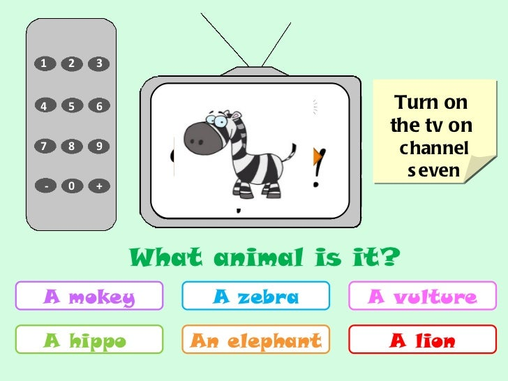 6 7 3 1 8 9 0 - + 5 2 4 Turn on  the tv on  channel seven A mokey A hippo  A zebra An elephant A vulture A lion NEXT What ...
