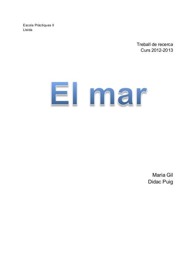 Escola Pràctiques IILleidaTreball de recercaCurs 2012-2013Maria GilDidac Puig