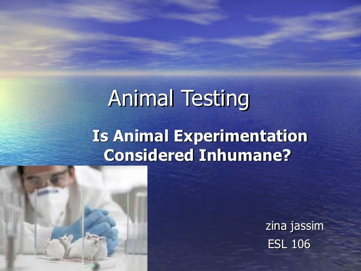 Animal Testing Is Animal Experimentation Considered Inhumane?   zina jassim ESL 106