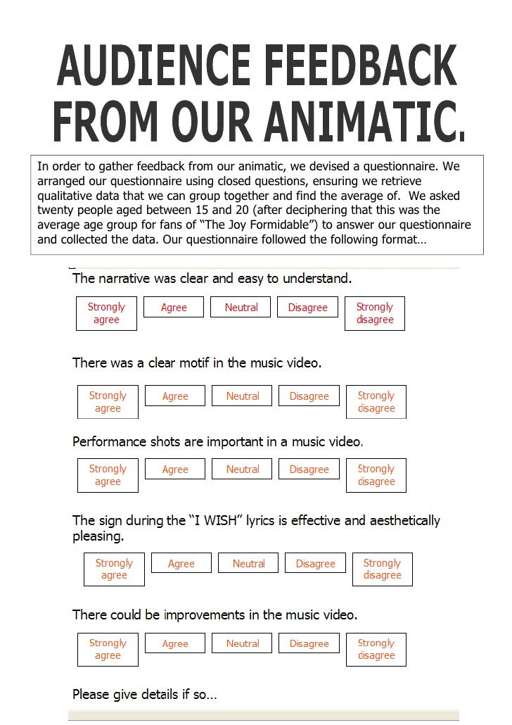 In order to gather feedback from our animatic, we devised a questionnaire. We arranged our questionnaire using closed ques...