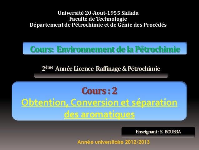 Université 20-Aout-1955 Skikda Faculté de Technologie Département de Pétrochimie et de Génie des Procédés  Cours: Environn...