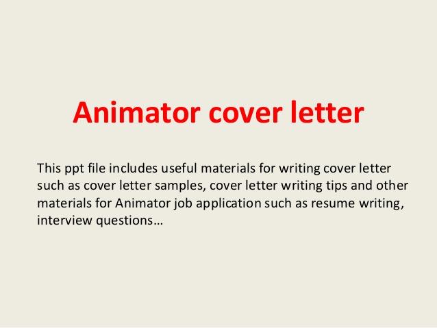 Animation Cover Letter – Job Description for Animator