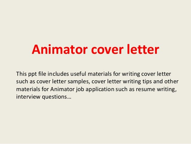 3d Animator Cover Letter Example