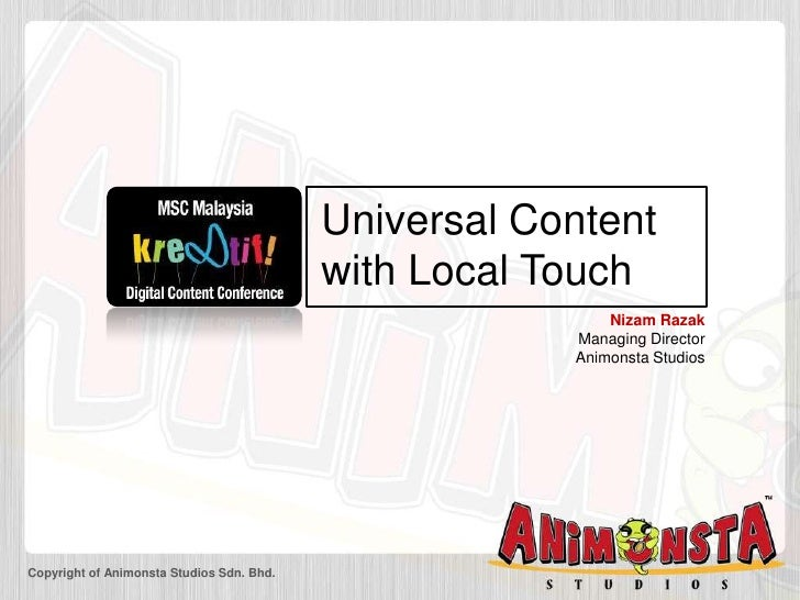 Universal Content with Local Touch - Animonsta @ Kre8tif Conference