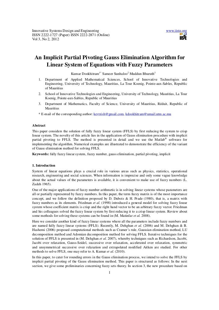 An implicit partial pivoting gauss elimination algorithm for linear system of equations with fuzzy parameters