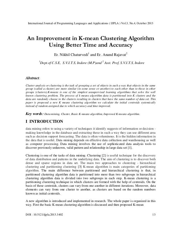 International Journal of Programming Languages and Applications ( IJPLA ) Vol.3, No.4, October 2013  An Improvement in K-m...