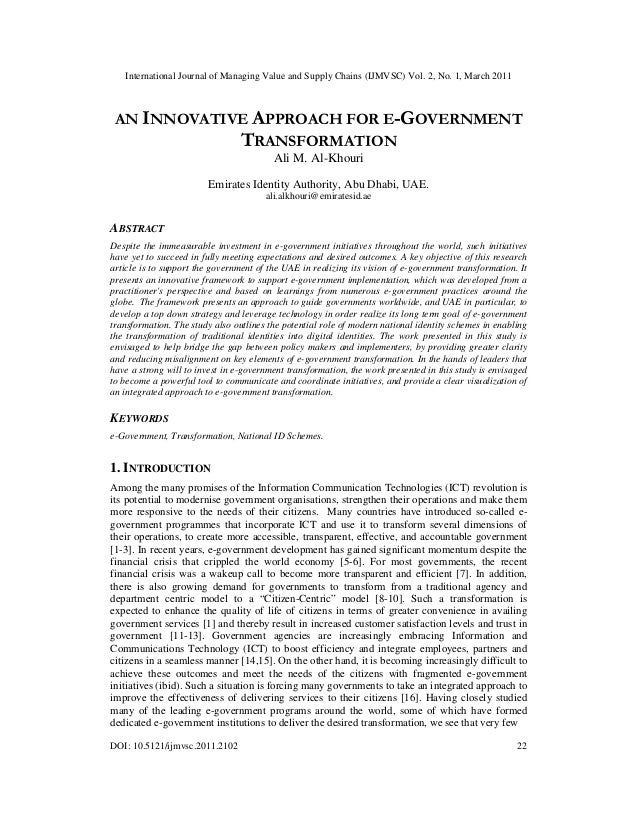 An Innovative Approach for e-Government Transformation