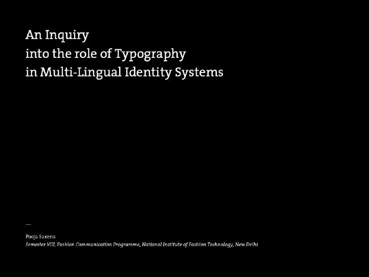 An Inquiry into the role of Typography in Multilingual Identity Systems