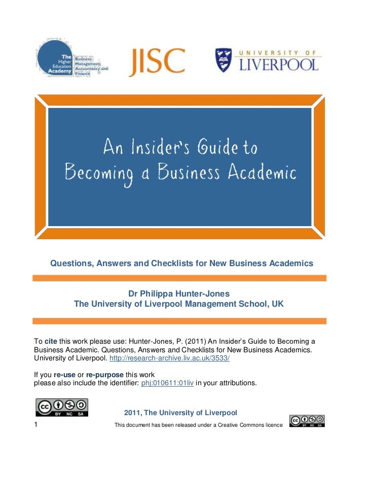 An Insider's Guide to Becoming a Business Academic. Questions, Answers and Checklists for New Business Academics