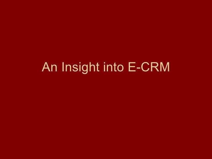 An Insight Into E- CRM