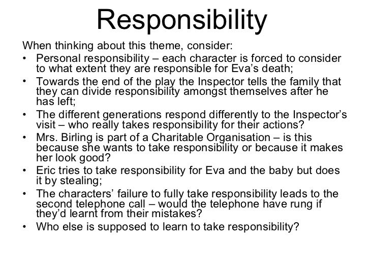 Essay on responsibility in an inspector calls