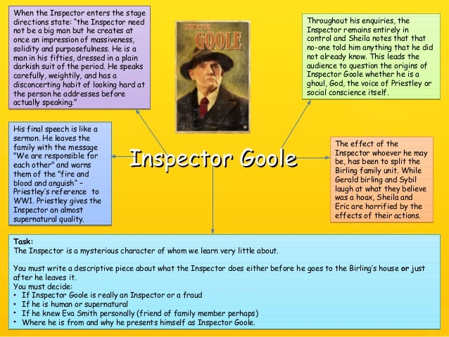 who is inspector goole essay This essay example has been submitted by a student our writers can write a better one for you examine inspector goole's and mr birling's attitudes to society and particularly their.