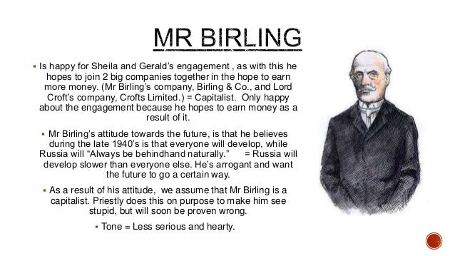 how is mr birling portrayed in an inspector calls Mr birling, when sheila asks why the inspector is  yet eva is portrayed as a very moral character -  'an inspector calls' is one of.