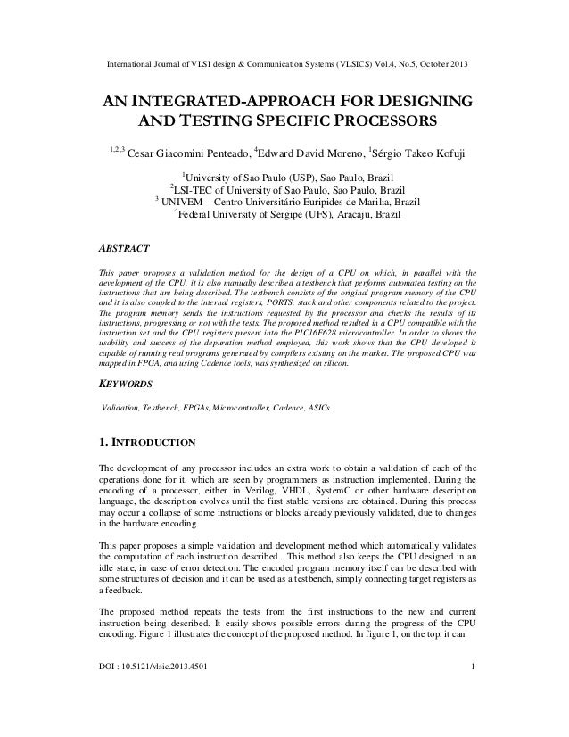 An integrated approach for designing and testing specific processors