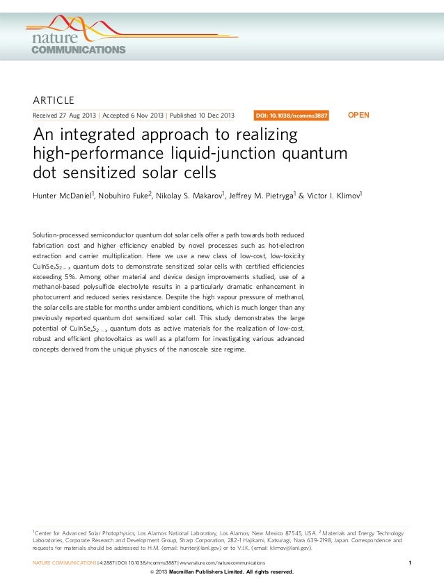 An integrated approach to realizing high performance liquid-junction quantum dot sensitized solar cells