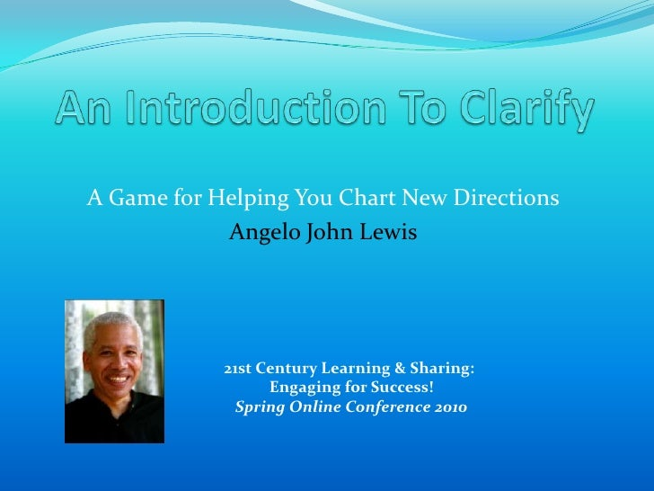 An introduction to the Clarify Your Goal game