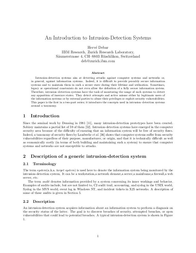 intrusion detection system research papers