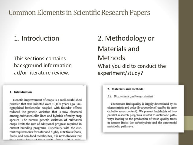 elements of a scientific research paper A research paper is one of the a research paper along with the basic elements of  types of research papers compared to conclusions for scientific papers.